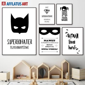 Cartoon Batman Superman Mark Quote Wall Art Canvas Painting Nordic Posters And Prints Wall Pictures For Kids Room Boy Room Decor