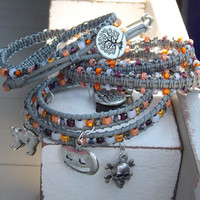 Halloween Macrame Stacking ARM PARTY Beaded Bangle Friendship Bracelet; Charm Friendship Bracelet