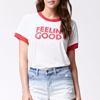 Camp Feelin' Good Ringer T-Shirt - Womens Tee - White Red
