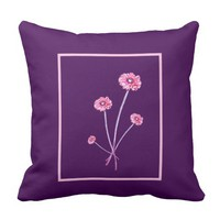 Pale Pink Purple Gerbera Flower Frame Cushion