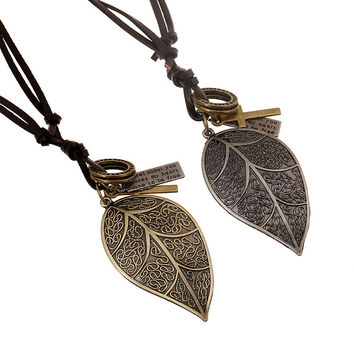 Jewelry Gift Shiny New Arrival Accessory Stylish Strong Character Leaf Leather Men Pendant Necklace [6526580867]