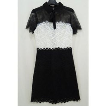 Vintage Peter Pan Collar Short Sleeves Color Splicing Lace Dress For Women