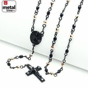 "Jewelry Kay style NEW Black Rose Gold Plated 4mm Bead Guadalupe Jesus Cross 25"" Rosary HR 700 KRGK"