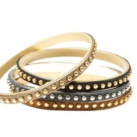 Circle & Square | Leather Studded Bangle