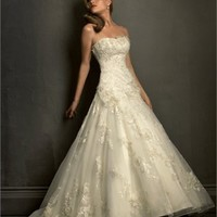 Lace Applique Over Net With Satin Ball Gown Wedding Dress WD1848
