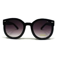 grinderPUNCH Women's Designer Inspired Mod Fashion Oversized Shaped Round Circle Sunglasses Black