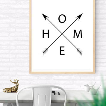 Home and Arrows Printable, Black and White Home Arrow Print, Arrows Art, Black Wall Decor, Home word art,  Home Wall Quote, Black Wall Print