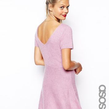 ASOS TALL Knitted Skater Dress With Low Back In Brushed Mohair