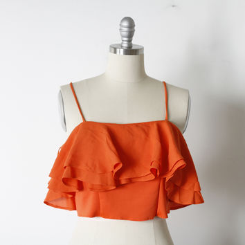 Zara Orange Ruffle Crop Top