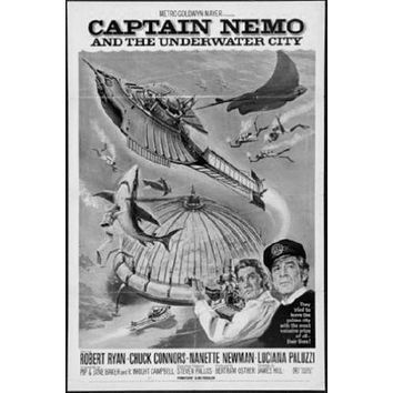 Captain Nemo poster Metal Sign Wall Art 8in x 12in Black and White