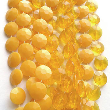 Vintage Yellow Plastic Necklace Long Two Tone Opaque Translucent Sunny Lemon Butter Summer Color Fixed Bead 3 Multi Strand