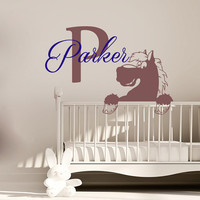 Wall Decals Personalized Name Decal Vinyl Sticker Horse Boy Baby Children Nursery Bedroom Decor Home Playroom Art Murals MN494