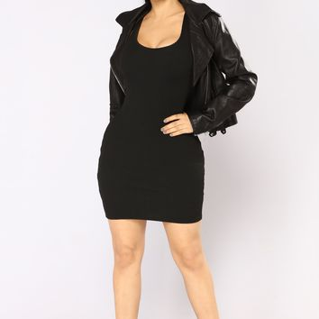 Larissa Ribbed Dress - Black