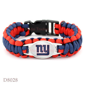 (10 Pieces/Lot) New York Football Team Giants Paracord Survival Friendship Outdoor Camping Sports Bracelet Dark Blue Red Gold