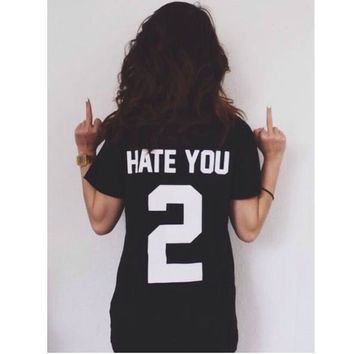 Fashion black back letters print loose short sleeve top