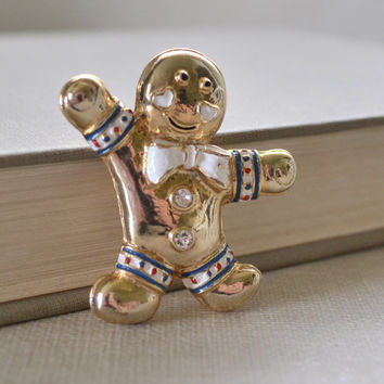 Gingerman Brooch, Ginger Man Cookie Pin, Winter Coat Brooch, Winter Pin, Holiday Jewelry, Gold Winter Brooch, Vintage Holiday, Le Printemps