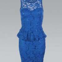 Royal Blue All Over Lace Peplum Bodycon Dress
