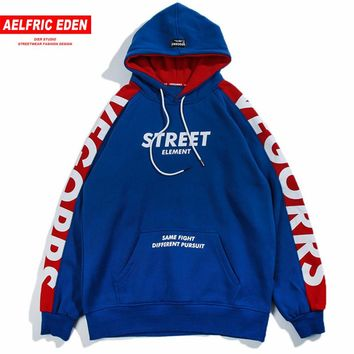 Aelfric Eden Hoodies Men 2018 Fashion Hoodie Sweatshirt Side Letter Printing Color Block Harajuku Moletom Casual Streetwear VE07