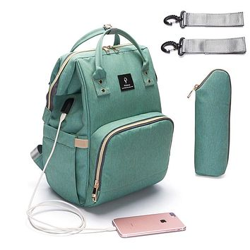 Baby Diaper Bag With USB Interface | Large Capacity | Waterproof | Travel Backpack | Nursing Handbag