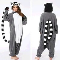 2016 Adult Women Men Lemur Costumes Onesuits Sleepwear in Winter Polar fleece Animal Cosplay Pajamas Pyjamas Tracksuit Hallowee