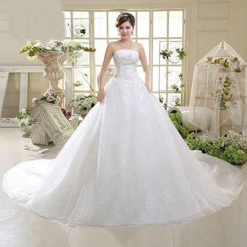 Embroidery Lace Long Train Gown Bridal Dress Bow Lace Wedding Dress