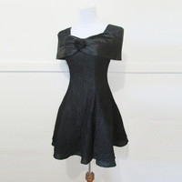 90's Formal Dress Black Lace S
