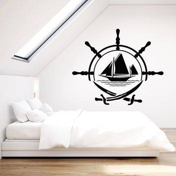 Vinyl Wall Decal Ship Wheel For Sailor Sail Crossed Swords Stickers (2378ig)