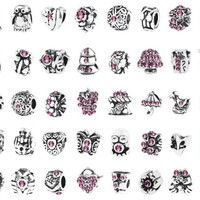 Bundle Monster 40 PC Antique Silver Plated Pink Czech Stones Oxidized Metal Beads Charms Set Mix Lot - Compatible with Pandora Biagi Troll Chamilia Bracelets