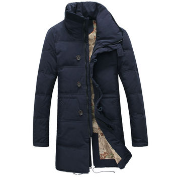 Russia Size 44-52 Plus Size Winter Jacket Men Long Stand Collar Casual Cotton Down Parka For Men