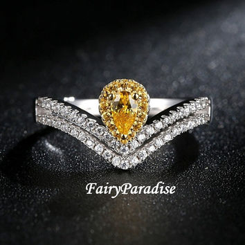 Pear Cut Two Tone Halo Art Deco Engagement Rings / Promise Ring, 0.3 ct Yellow Oval Cut Man Made Diamond Center Stone, double chevron band