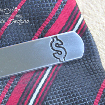 Dollar Sign Tie Clip, Stock Broker, Engraved Tie CLip, Custom Tie Clip, Personalized Tie Bar, Money, Cool Guy Gifts, Banker Gift