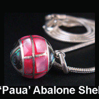 Harmony Ball Bola Necklace with 'Paua' Abalone Shell with Pink Color Against Green Partitioned with 925 Sterling Silver Filigree - 266