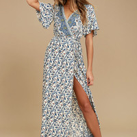 Amabella Cream Print Wrap Maxi Dress