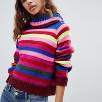 E.L.K Roll Neck Knit In Rainbow Stripe at asos.com