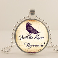 """Black, Quoth the Raven, nevermore. 1"""" glass and metal Pendant necklace Jewelry."""