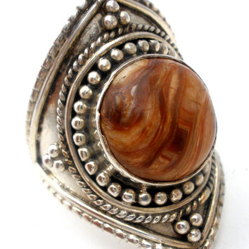 Brown Agate Sterling Silver Ring Size 7