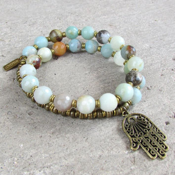 Confidence, Throat Chakra, Amazonite gemstone 27 beads mala bracelet with Hamsa hand charm™
