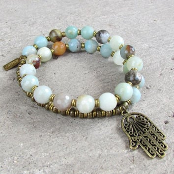 Confidence and Healing, Amazonite gemstone 27 beads mala bracelet with Hamsa hand charm™