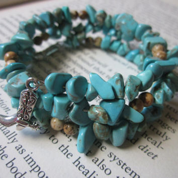 Cowboy Boot Bracelet Turquoise Magnesite Chip Beads Brown Desert Jasper Wrap Spring Jewelry Stone Memory Wire