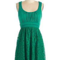 ModCloth Short Length Tank top (2 thick straps) A-line Artisan Iced Tea Dress in Mojito