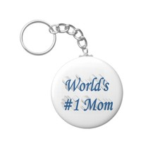 World's #1 Mom 3D Key Chains, Sea Blue Keychain