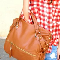 New Tassel Leather Handbag Cross Body Bag-Brown