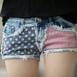 Juice Action Women's American Us Flag Jeans Sexy Shorts Hot Pants Blue