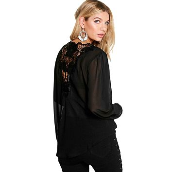 Stylish Crochet Back Wrap Front Black Blouse