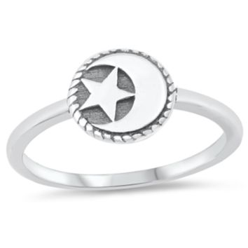 .925 Sterling Silver Moon and Star Ring Ladies and Kids Size 1-5 Midi Thumb Knuckle