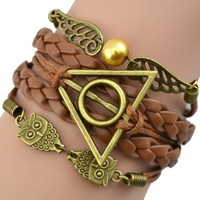 Bluesky Hot Christmas Fashion Brown Infinity Retro Owl Angel Wings Harry Potter Multilayer Bracelet