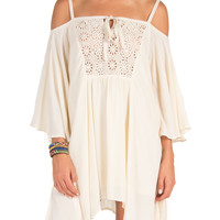 Flowy Crochet Bust Dress - Medium - Cream /