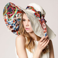 Design Flower Foldable Brimmed Sun Hat Summer Hats for Women Outdoor UV Protection