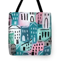 "City Stories- Church On The Hill Tote Bag 18"" x 18"""