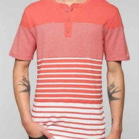 BDG Multi-Stripe Block Henley Tee- Red